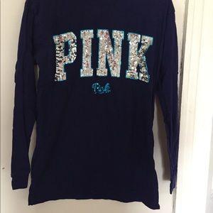 NWOT VS Pink Bling Long Sleeve